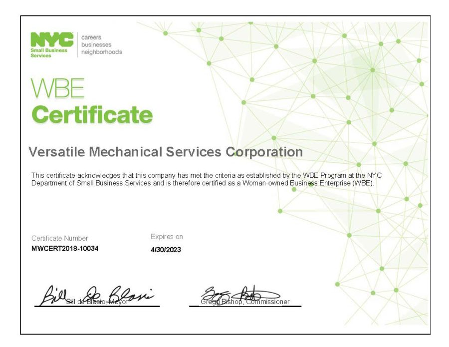 Nyc Nys Wbe Versatile Mechanical Services Certified Women